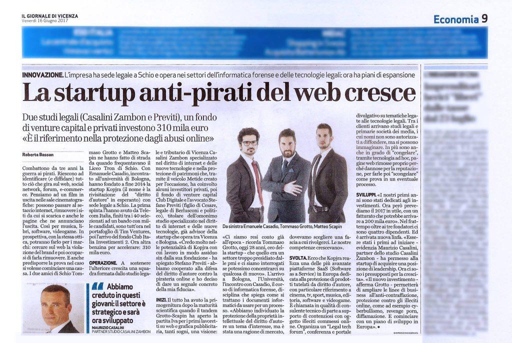 start up kopjra sul Giornale di Vicenza 16 giugno 2017